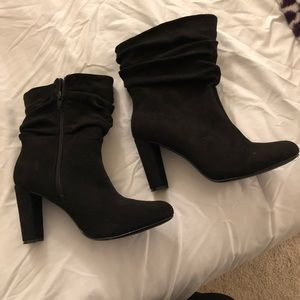 2 pairs of black heeled boots size 9